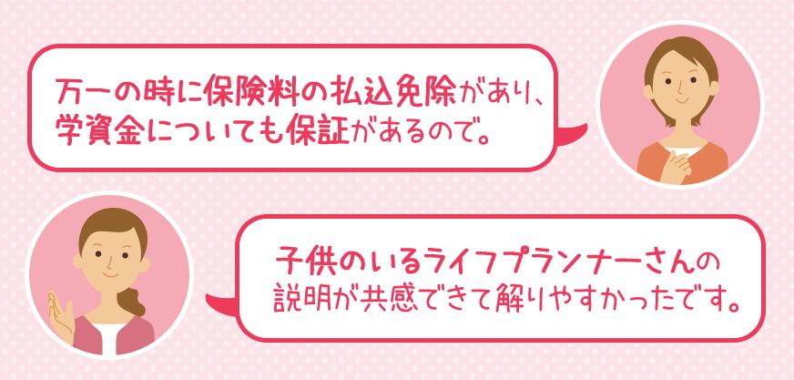 加入中のママ達による感想・口コミ・評判(ソニー生命学資保険)